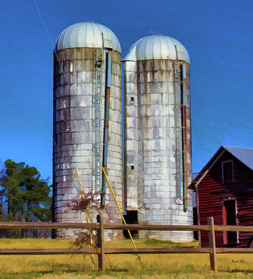 Photograph - Rural Life Silos by Roberta Byram