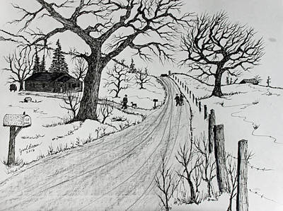 Mail Box Drawing - Rural Living by Jack G Brauer