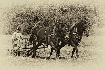 Photograph - Rural Missouri Plowing With Horses Sepia Dsc08210 by Greg Kluempers
