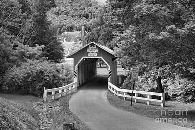 Photograph - Rural New Baltimore Covered Bridge Black And White by Adam Jewell