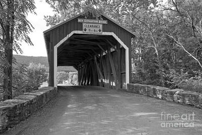 Photograph - Rural New Germantown Covered Bridge Black And White by Adam Jewell
