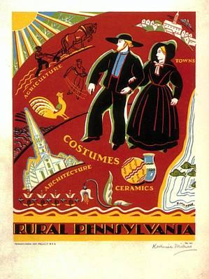 Ceramics Mixed Media - Rural Pennsylvania - Retro Travel Poster - Vintage Poster by Studio Grafiikka
