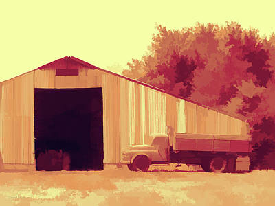 Digital Art - Rural Pop #4 Old Truck And Big Barn  by David King
