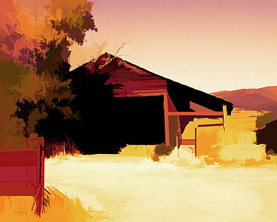Digital Art - Rural Pop No 1 Hay Shed And Tree by David King