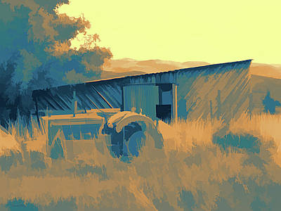 Digital Art - Rural Pop No 10 Tractor In The Grass With Shed by David King