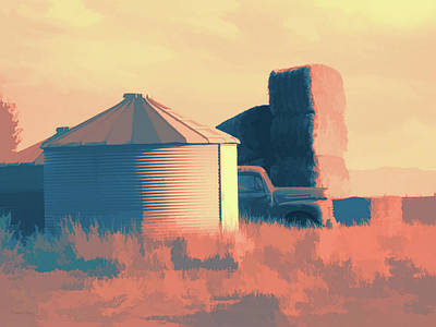 Digital Art - Rural Pop No 11 Truck Hay Bales Silos by David King