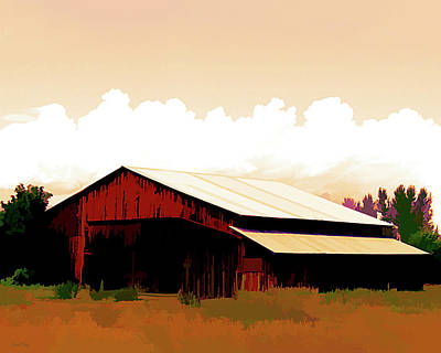 Digital Art - Rural Pop No 12 Barn And Sky by David King