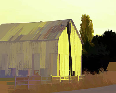 Digital Art - Rural Pop No 2 Big White Barn by David King