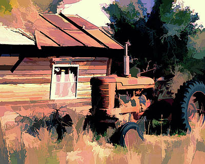 Digital Art - Rural Pop No 3 Farmall Tractor And Derelict Shack by David King