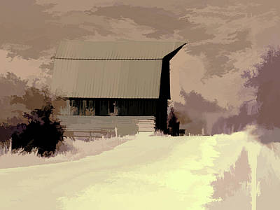 Digital Art - Rural Pop No 6 Barn On Country Road by David King