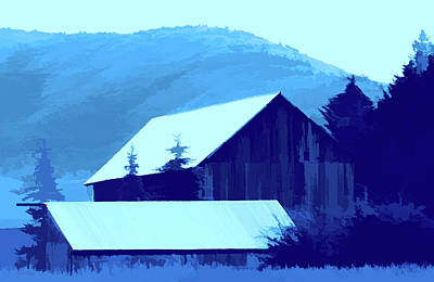 Digital Art - Rural Pop No 8 Barn And Trees by David King