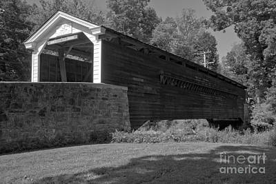 Photograph - Rural Rapps Covered Bridge Black And White by Adam Jewell