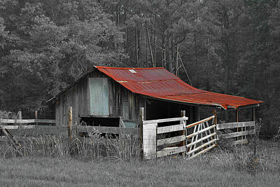 Photograph - Rural Red - Red Roof Barn Rustic Country Rural by Jon Holiday