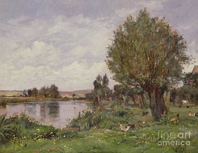 Riviere Painting - Rural River Scene, 1875 by Alexandre Defaux