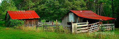 Photograph - Rural Serenity - Red Roof Barn Rustic Country Rural by Jon Holiday
