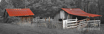 Photograph - Rural Serenity Black And White Version - Red Roof Barn Rustic Country Rural by Jon Holiday