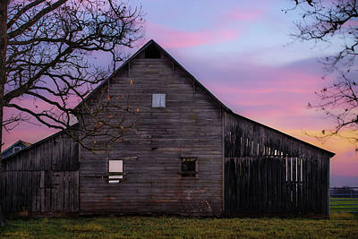 Photograph - Rural Skies Of Dusk - Rustic Barn Photography by Gregory Ballos