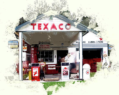 Service Station Painting - Rural Texaco Gas Station by Elaine Plesser