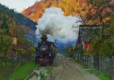 Digital Art - Rural Train by Yury Malkov