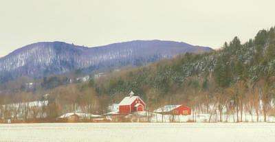 Barns Digital Art - Rural Vermont by Sharon Batdorf