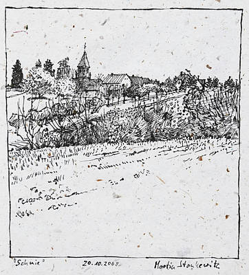 Drawing - Rural Village Plein Air Ink Drawing by Martin Stankewitz