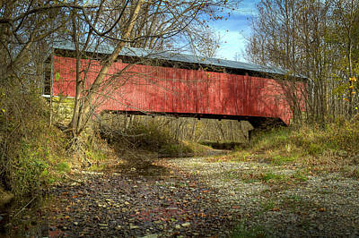 Photograph - Rush Creek Covered Bridge by Jack R Perry