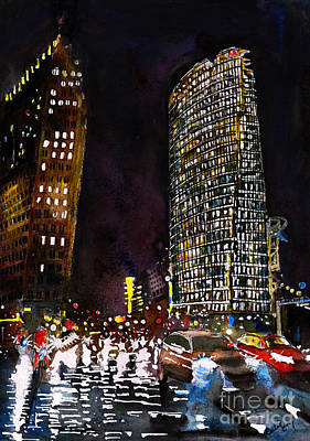 Berlin At Night Painting - Rush Hour At Potsdamer Platz by Callan Percy