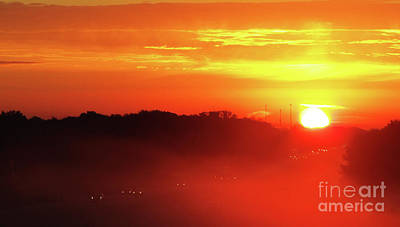 Photograph - Rush Hour Begins At Sunrise I 94 To Madison Wisconsin by Ron Tackett
