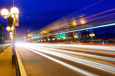Rush Hour Light Trails On Cambie Bridge Art Print