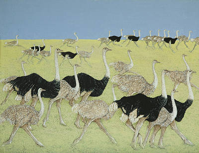 Ostrich Painting - Rush Hour by Pat Scott