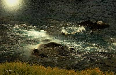 Sea Moon Full Moon Painting - Rushing Over The Rocks by RC deWinter