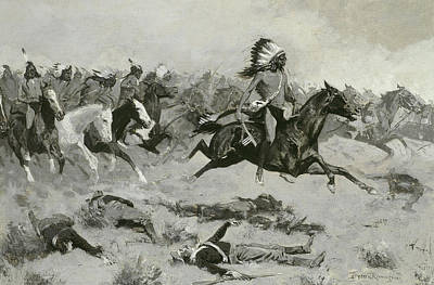 Cowboys And Indians Painting - Rushing Red Lodges Passed Through The Line by Frederic Remington