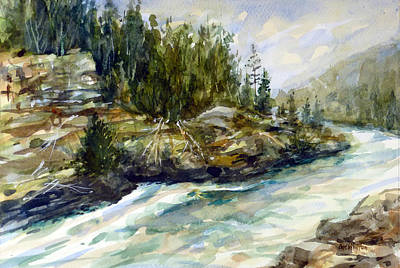 Painting - Rushing Stream - Yellowstone by Carl Whitten