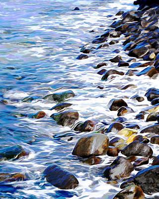 Mixed Media - Rushing To Shore by Pamela Walton