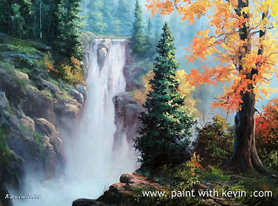 Kevin Hill Painting - Rushing Waterfall by Kevin Hill