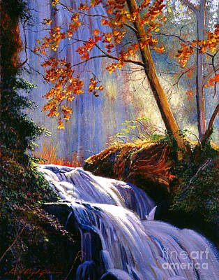 Falling Water Painting - Rushing Waters by David Lloyd Glover