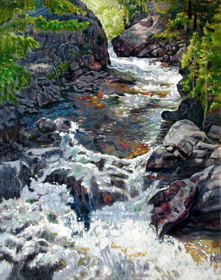 Colorado Mountain Stream Painting - Rushing Waters by John Lautermilch
