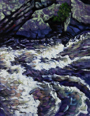 Colorado Mountain Stream Painting - Rushing Waters One by John Lautermilch