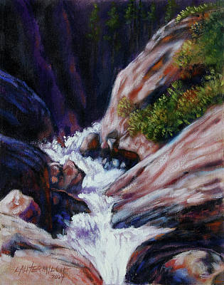 Colorado Mountain Stream Painting - Rushing Waters Two by John Lautermilch