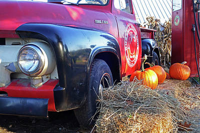 Photograph - Russel Farms 1951 Ford F100 Gas Pumpkins by Toby McGuire