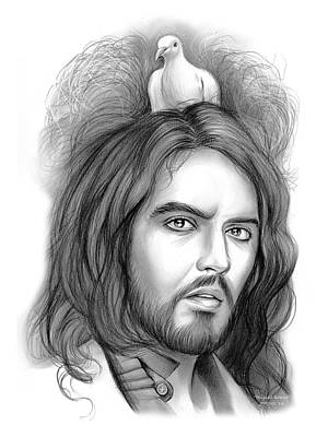 English Drawing - Russell Brand by Greg Joens