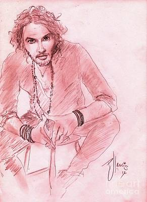 Drawing - Russell Brand by PJ Lewis