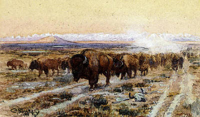 Bison Digital Art - Russell Charles Marion The Bison Trail by Charles Marion Russell