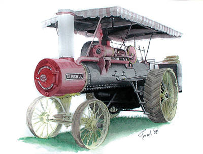 Steam Tractor Painting - Russell Steam Tractor by Ferrel Cordle