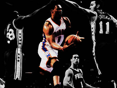 Oklahoma City Thunder Mixed Media - Russell Westbrook Going Underneath by Brian Reaves