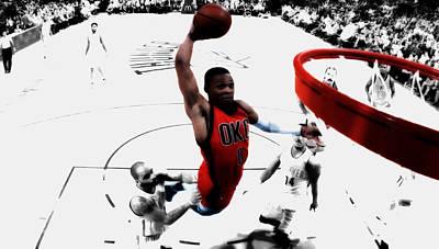 Oklahoma City Thunder Mixed Media - Russell Westbrook In Flight by Brian Reaves