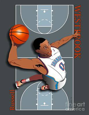 N.b.a.basketball Digital Art - Russell Westbrook, No. 0 by Walter Oliver Neal