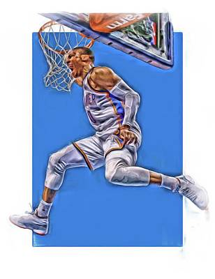 Basket Ball Mixed Media - Russell Westbrook Oklahoma City Thunder Oil Art 2 by Joe Hamilton