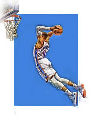 Basket Ball Mixed Media - Russell Westbrook Oklahoma City Thunder Oil Art 3 by Joe Hamilton