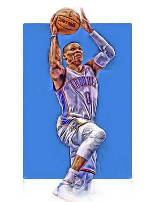Basket Ball Mixed Media - Russell Westbrook Oklahoma City Thunder Oil Art by Joe Hamilton